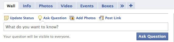 Facebook Questions - на стената