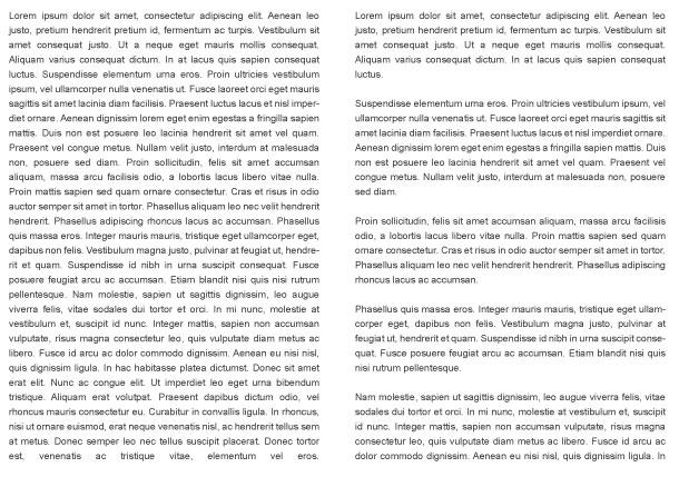 Употребата на параграфи при дълги текстове.